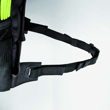 An adjustable hip strap keeps the backpack in the perfect position.
