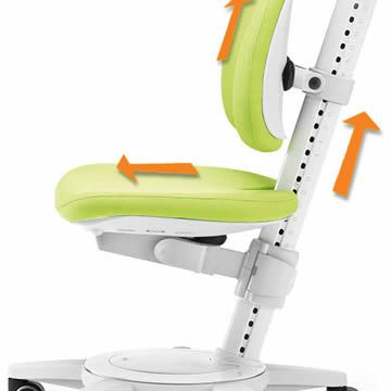 The depth of seat, height of seat and backrest are child's play to adjust (with measuring scale).